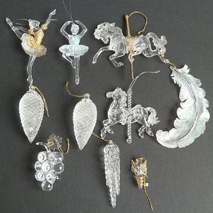 10 Vintage Acrylic Clear Ornaments